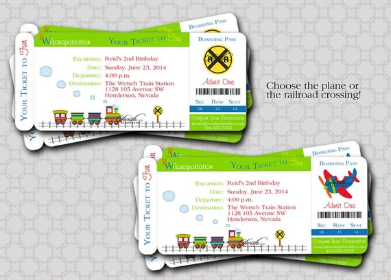 Train Birthday Invitation -  Boarding Pass Birthday Invite  - Airplane, train, transportation - boy - printable invitations -