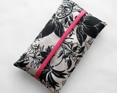 Tissue Holder - Black and White Floral w/Pink Accents