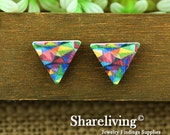 Buy 1 Get 1 Free - 20pcs 17mm Triangle Handmade Photo Wood Cut Cabochon   -- HWC201D