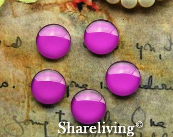 12mm Glass Dome, 8mm 10mm 12mm 14mm 16mm 20mm 25mm 30mm Round Purple glass Cabochon - BCH244H