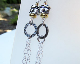 Bunny Rabbit Two Tone Sterling Silver Earrings