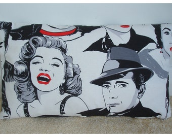 "12x20 Oblong Bolster Pillow Cover Marilyn Monroe Humphrey Bogart 1950s Hollywood Movies 20""x12"" Rectangular Cushion"
