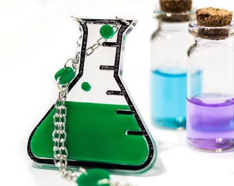 Laboratory Potion Bottle Necklace in Green-Geek Jewelry