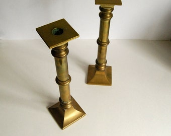 Vintage Brass Candle Holders Pair Square Candlesticks Metal Rustic Cottage Chic Antique Lighting Neoclassical Hollywood Regency