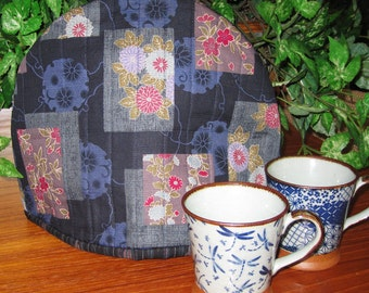 Quilted Teapot Cozy Floral Patchwork Look Design Thermal Lined Japanese Asian Fabric