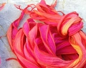 Hot Lava Silk Ribbons Hand Dyed Sewn Strings 5 Pink Orange Gold Red