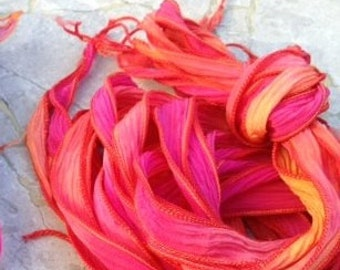 Hot Lava Silk Ribbons, Crinkle Silk Ribbons, Hand Dyed Sewn Qty 5 Strings in Pink Orange Gold and Red, Stringing Supplies, Jewelry Ribbon