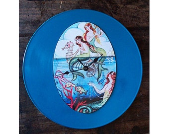 retro mermaid clock 1950's pin up vintage nautical rockabilly kitsch wall clock