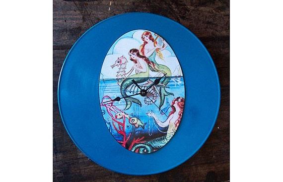 retro mermaid clock 1950's pin up vintage nautical rockabilly kitsch wall clock