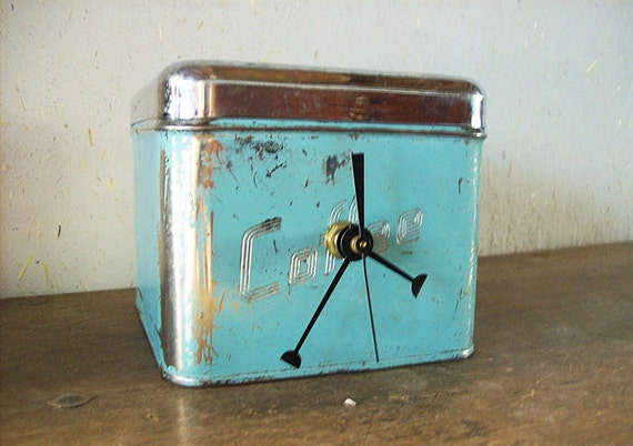 turquoise canister clock retro vintage 1950's chrome kitchen rockabilly kitsch