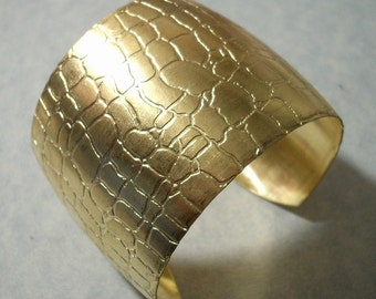 Unfinished Raw Brass Alligator Cuff Bracelet Blank Great for Embellishments, Decoupage, Altered Art Projects