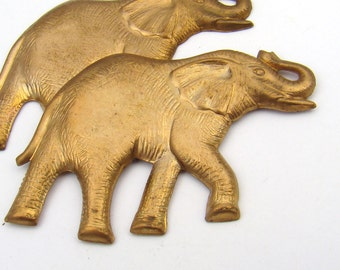 Brass elephant stampings, vintage detailed 54mm, 2 pcs