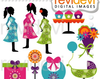 Maternity clipart - Spring Chic Baby Shower Clipart 07501