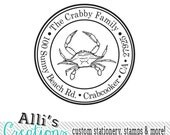 Crab Round Return Address Stamp - Custom Beach Self Inking Rubber Stamp