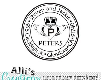Custom Self-Inking CLADDAGH Return Address Stamp Stamper