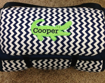 Custom Nap Mat...BOUTIQUE Mat for boys...Alligator and navy and white chevron...made for you!  Personalized and so thick
