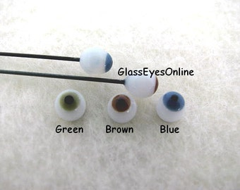 3 PAIR 2mm German Glass Doll Eyes on wire 3 Color for Ooaks, Sculptures, Fairies, Mermaids, Trolls, Dolls  (123)