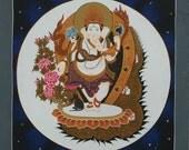 GANESHA  ThaNgka PaiNtiNG-NoN ProFit-Nepalese Painting-Buddhist Art-meditation-night sky-Tibetan Art-Hindu Art-Tibetan Painting-Elephant Art