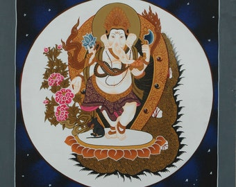 GANESHA  ThaNgka PaiNtiNG-NoN ProFit-Nepalese Painting-Buddhist Art-meditation-night sky-Tibetan Art-Hindu Art-Tibetan Painting-Elephant Art
