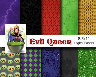 Disney Snow White - Evil Queen Inspired 8.5x11 Digital Paper Pack for Digital Scrapbooking, Party Supplies, etc -INSTANT DOWNLOAD -