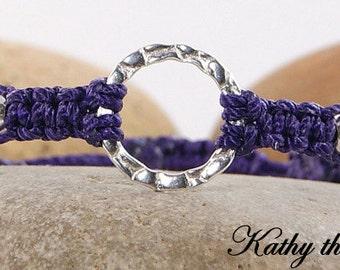 Karma Bracelet - Purple Sterling Silver Macrame Karma Circle Bead Bracelet - KTBL