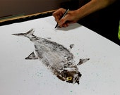 American Shad GYOTAKU Fish art Rubbing Original 23X35 Lambertville New Jersey and the Delaware River by Barry Singer