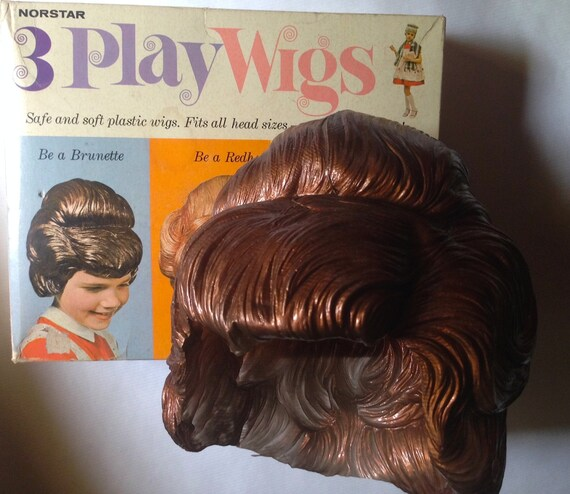 3 Play Wigs Set By Norstar Vintage Dress Up Plastic Wigs