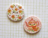 Ceramic Porcelain Buttons, Set of 2 Handmade and Painted with Red and Yellow Striped Tea Pot and Calico Flowers