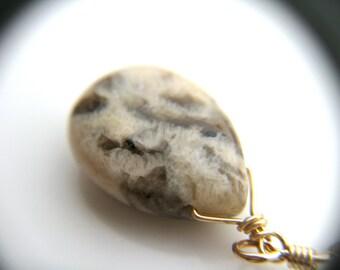 Beige Earrings Gold . Silkworm Jasper Earrings . Gold Teardrop Earrings . Large Teardrop Earrings . Beige Earrings - Turtle Dove Collection