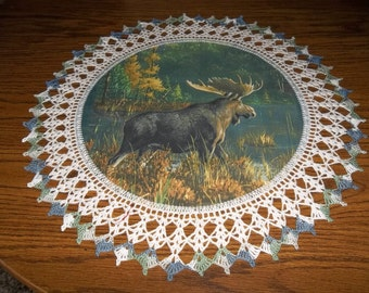 Moose Doily Fabric Center with Crocheted edging 20 inches Centerpiece