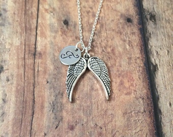 Angel wings necklace - wings necklace, memorial necklace, angel wings jewelry, silver angel wings necklace, double angel wings necklace