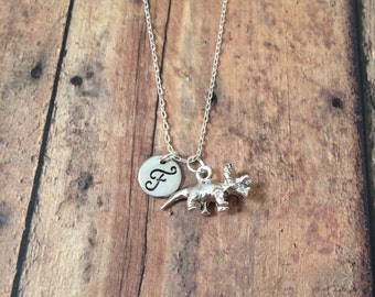 Triceratops initial necklace - dinosaur necklace, triceratops jewelry, dinosaur jewelry, paleontology jewelry, silver triceratops necklace