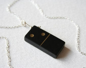 Charm Necklace Wooden Sterling Silver and Vintage Wooden Domino 2 Blank