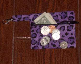 Purple Cheetah coin pouch with swivel hook
