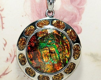 Opalescent Pendant on 18 inch Black Cord,Orange Green and Silver Pendant