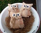 Primitive Owl bowl filler tuck ornies prim barn owl