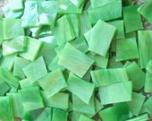 Mosaic Tiles MEADOW GREEN Handcut Stained Glass 50 Mosaic Tile