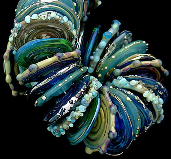 DSG Beads - Debbie Sanders Glass Artisan Handmade Lampwork  Glass Beads Organic Beads- Made To Order Discs (Mermaids)