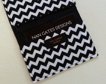 Chevron - Business Card Case - Business Card Holder - Money Holder - Credit Card Case - Gift Card Holder - Checkbook Cover - Black and White