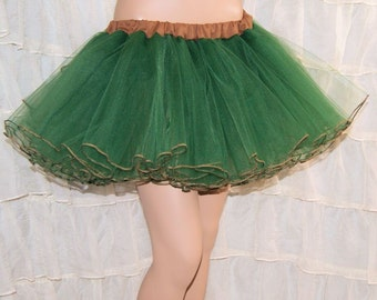 Hunter Green and Beige Tan Piped Costume TuTu Crinoline Skirt MTCoffinz --- Adult All Sizes