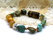 Maan Shan Turquoise and Natural Tiger Eye Boho Luxe Beaded Bracelet Boutique Wearable Art Southwestern