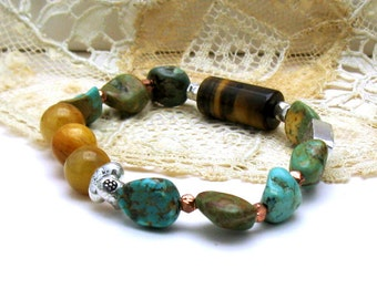 Maan Shan Turquoise and Natural Tiger Eye Boho Luxe Beaded Bracelet, Boutique Wearable Art, Southwestern