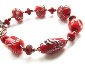 Bright Red Twistie Lampwork Glass Bracelet with Copper Toggle