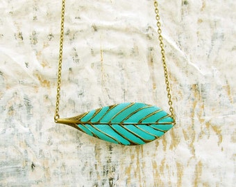 boho Leaf necklace turquoise mint Bohemian jewelry metal Feather spring trends