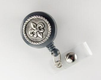 Badge Reel FLEUR DE LIS id card holder retractable lanyard
