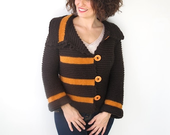 Brown - Orange Retro Cardigan by Afra