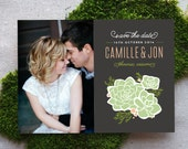 Rustic Photo Save the Date Card, Boho Succulent Southwestern Floral