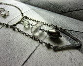 Raw Crystal Pyrite and Green Amethyst Pendant Necklace