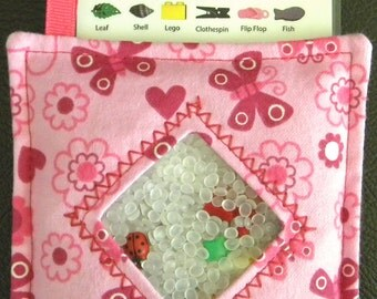 I Spy Bag - Mini with SEWN Word List and Detachable PICTURE LIST- Pink Butterflies