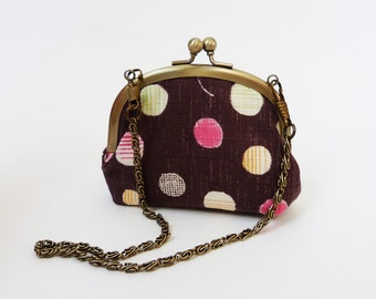 Coin purse - mini purse - brown polka dot fabric
